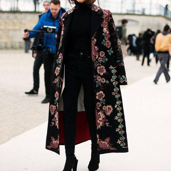 Chic Lapel Collar Pink Flower Printed Long Coat