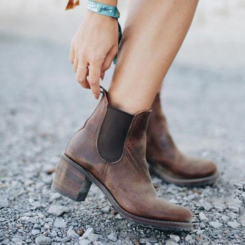 Stylish Leather High Heel Women Boots
