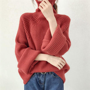 Casual Loose Pure   Color Horn Sleeve Warm Knitting Sweater Blouse