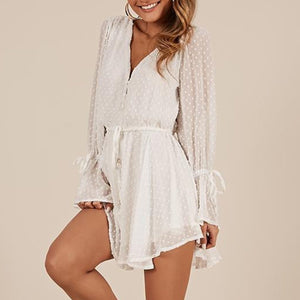 Long Puff Sleeve Chiffon Button Up Sexy Romper