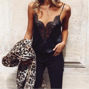 Casual Sexy Lace V   Neck Sling Vest Blouse
