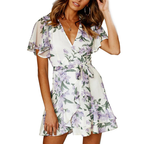 Summer Short Sleeve Wrap Floral Ruffle Vacation Mini Dress