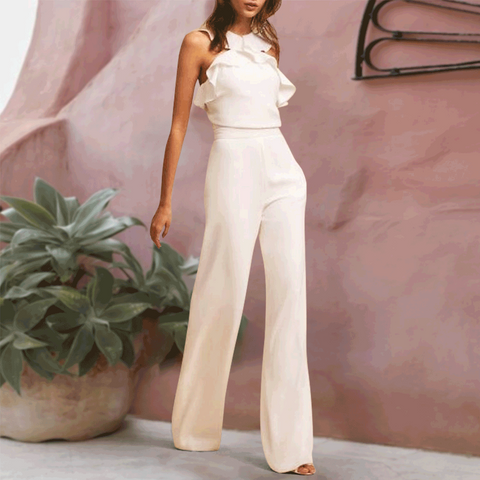 Fashion Elegant Falbala Vacation Jumpsuit