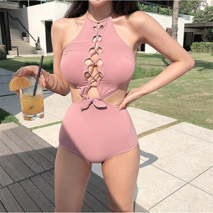 Sexy Casual Plain Halter One-Piece Swimwear