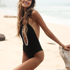 2019 Plain Halter Backless Hollow One-Piece Swimwear