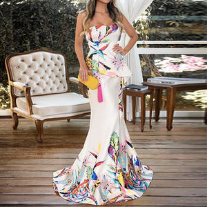 Fashion Floral Plunge Ruffles Layered Hem Maxi Evening Dress