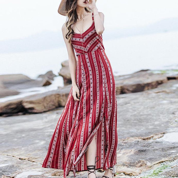 Sexy Deep V Collar Floral Printed Backless Maxi Dress