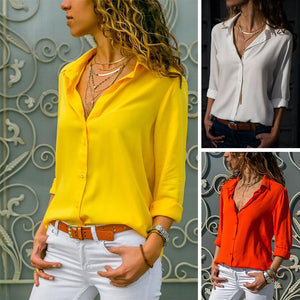 Solid Color V-Neck Long Sleeved T-Shirt