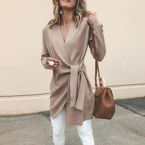 Solid Color V-Neck Casual Cardigans