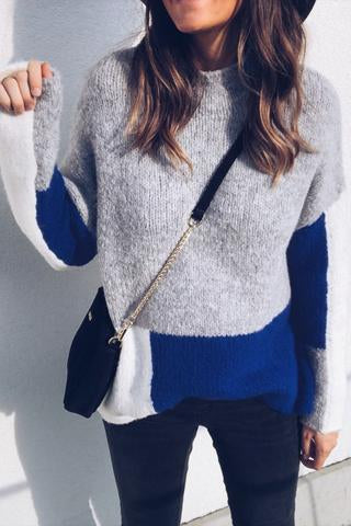 Fashion Round Collar Split Joint Sofe Sweater