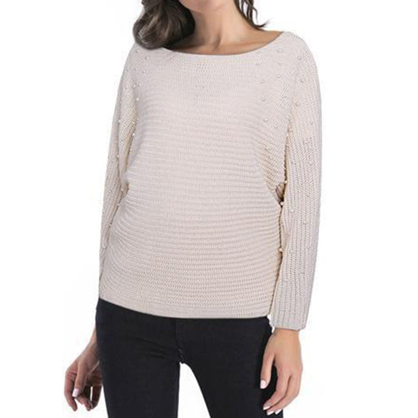 Fashion Round Collar Plain Knit Sweater