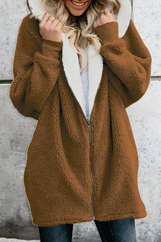 Sweet Nifty Casual Fashion Loose Thermal Plain Long Sleeve Coat