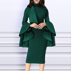 Crew Neck  Bust Darts  Plain Bodycon Dress