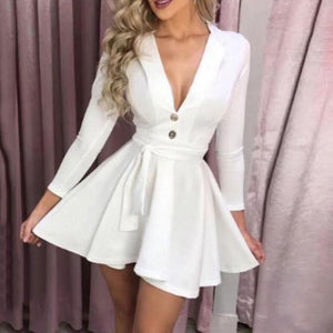 Sexy Deep V Skirt With Slim Sleeves Dress