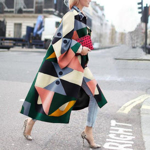Fashion Geometry Printed Colorful Loose Woolen Long Coats