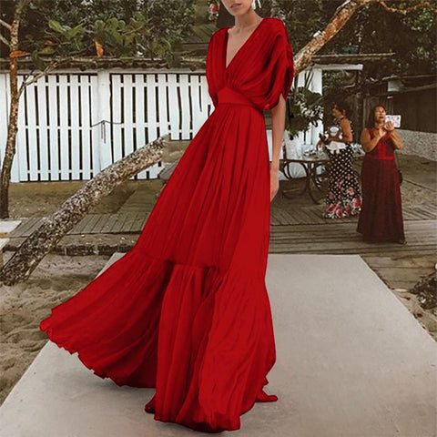 Fashion V Collar High Waist Chiffon Vacation Maxi Dress