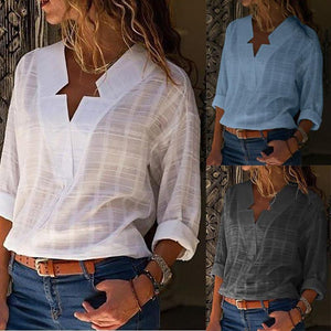 Sexy V Neck Pure Color Blouses Shirt