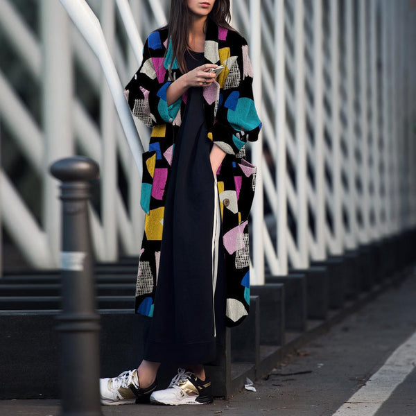 Fashion Turndown   Collar Printed Long Sleeve Coat