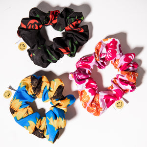 Flower Power  3 Pack of Scrunchies - Sunflower, Rose, Hawaiian Print