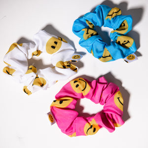 Signature Smiles- 3 Pack of Hair Scrunchies (Blue, Pink, White Smiley Face)