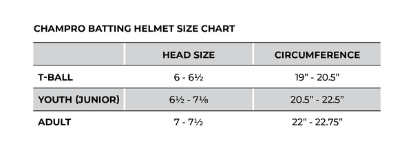 Champro Batting Helmet Size Guide_Base 2 Base Sports