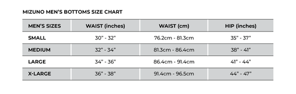 Mizuno Men's Sliding Shorts Size Chart_Base 2 Base Sports