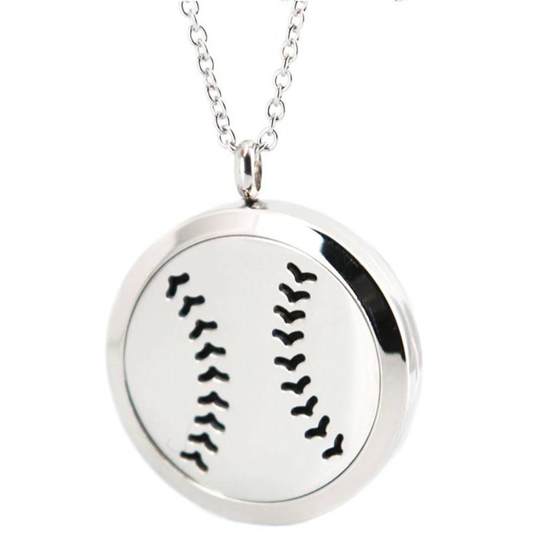 Baseball Diffuser Locket Necklace_Base 2 Base Sports