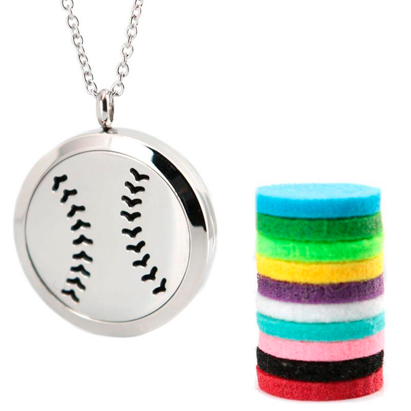 Baseball Diffuser Locket Necklace