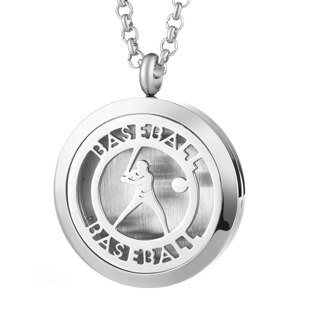 Baseball Player Diffuser Locket Necklace_Base 2 Base Sports