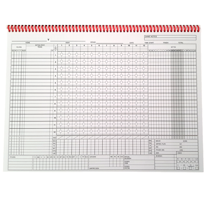 Baseball Australia Official Baseball Score Book - 12 Batter - Base 2 Base