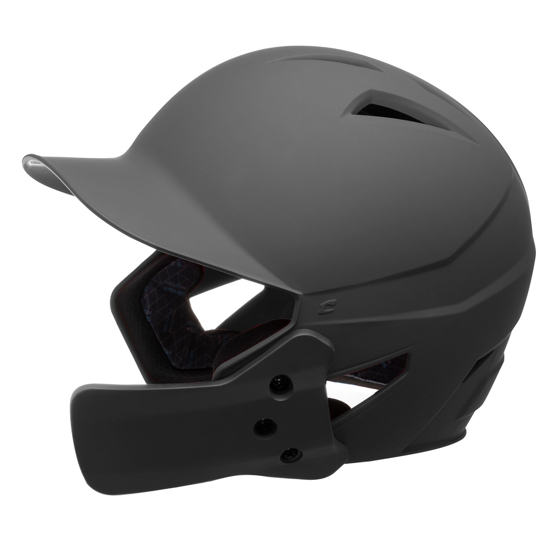 Champro HX Gamer Plus Batting Helmet with Jaw Guard Senior_Black_HXMJGB_Base 2 Base Sports