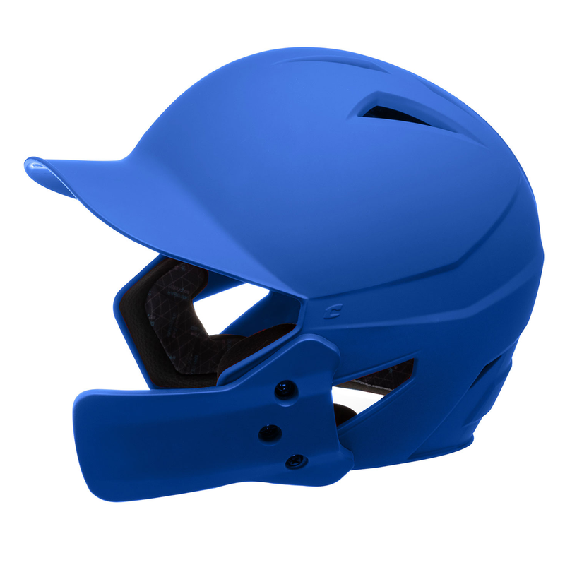 Champro HX Gamer Plus Batting Helmet with Jaw Guard Senior_Royal_HXMJGRY_Base 2 Base Sports