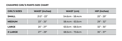 Champro Girl's Pants Size Chart_Base 2 Base Sports
