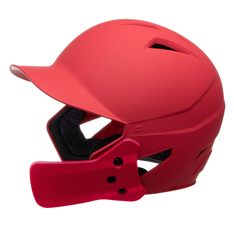 Champro HX Gamer Plus Batting Helmet with Jaw Guard Junior_Red_Scarlet_HXMJGSCS_Base 2 Base Sports