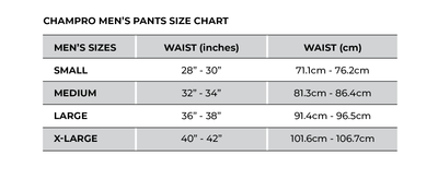 Champro Men's Pants Size Chart_Base 2 Base Sports
