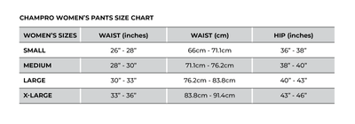 Champro Women's Pants Size Chart_Base 2 Base Sports