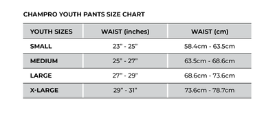 Champro Youth Pants Size Chart_Base 2 Base Sports