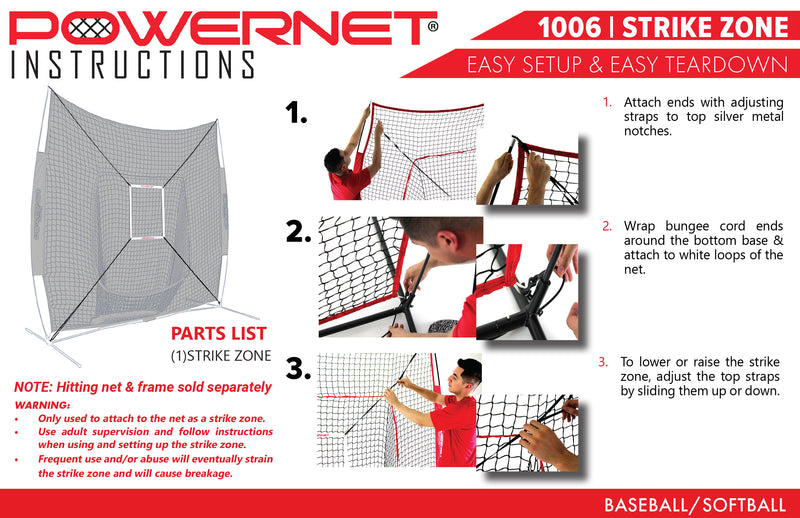 PowerNet Strike Zone Attachment for 5x5 Baseball Softball Net