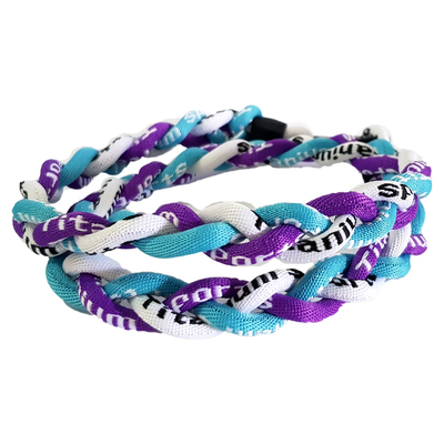Titanium Braided Baseball Necklace Purple, Light Blue & White_Base 2 Base Sports