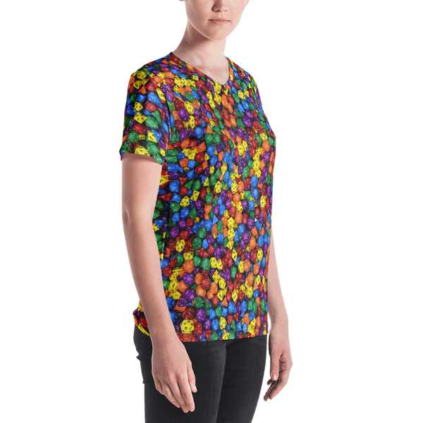 Polyhedral All-Over Print Women's V-neck T-shirt