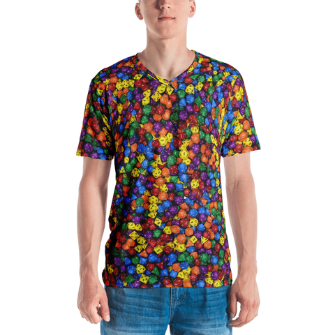 Polyhedral All-Over Print Men's V-Neck T-shirt