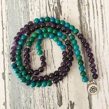 Load image into Gallery viewer, Spiritual Lotus Chrysocolla Mala Bracelet