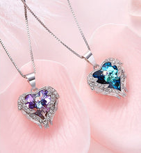 Load image into Gallery viewer, Crystal Heart Angel Wings Necklace