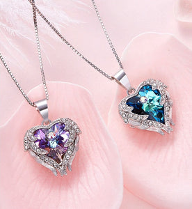Crystal Heart Angel Wings Necklace