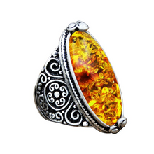 Load image into Gallery viewer, Spiritual Eye Shape Amber Ring