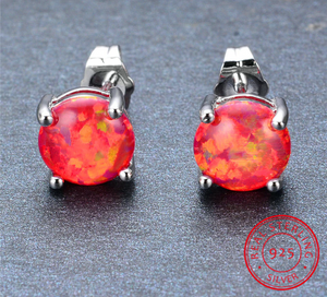 Spiritual Fire Opal Silver Earrings
