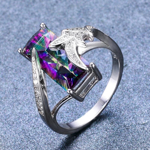 Rainbow Topaz Silver Ring