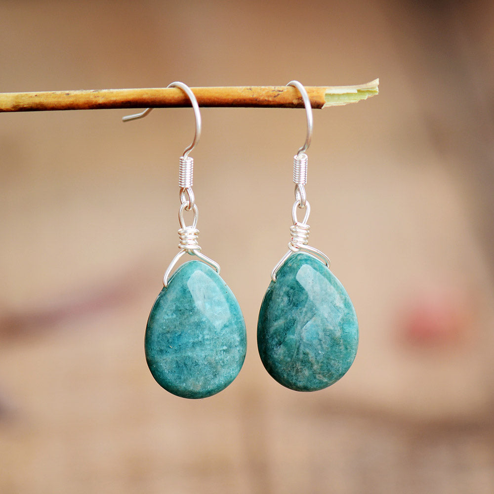 Spirit Amazonite Teardrop Earrings