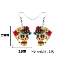Load image into Gallery viewer, Halloween Floral Skull Earrings