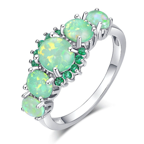 Green Opal Silver Ring